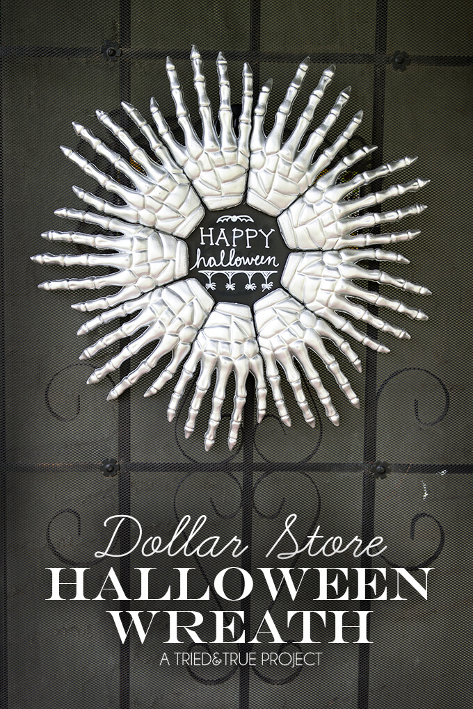 Skeleton Hands Halloween Wreath by Tried and True Blog