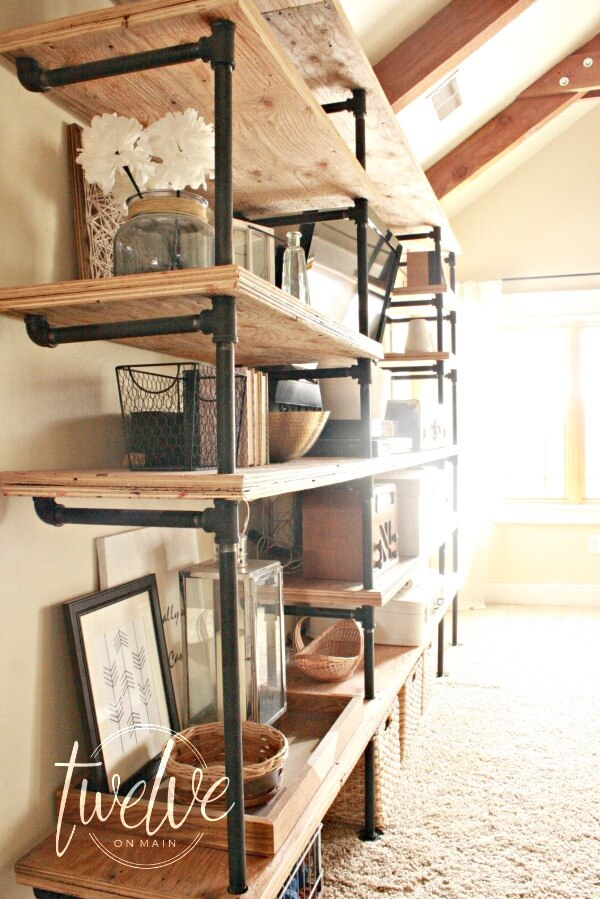 DIY industrial pipe shelves. Use your imagination to come up with any  configuration. There - DIY Industrial Pipe Shelves - Twelve On Main