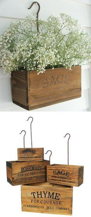 Hanging planter boxes. Great for spring.