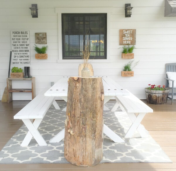 This Picnic Table With Industrial Farmhouse Flair Is The Center Of My Porch  Decor. Come