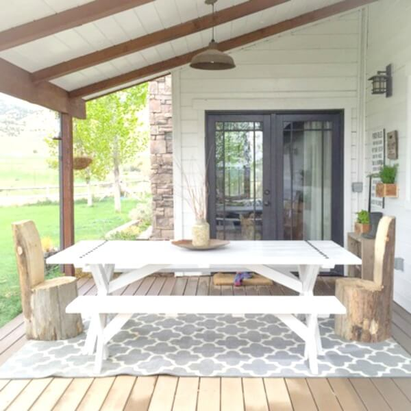 Picnic Table with Industrial Farmhouse Flair