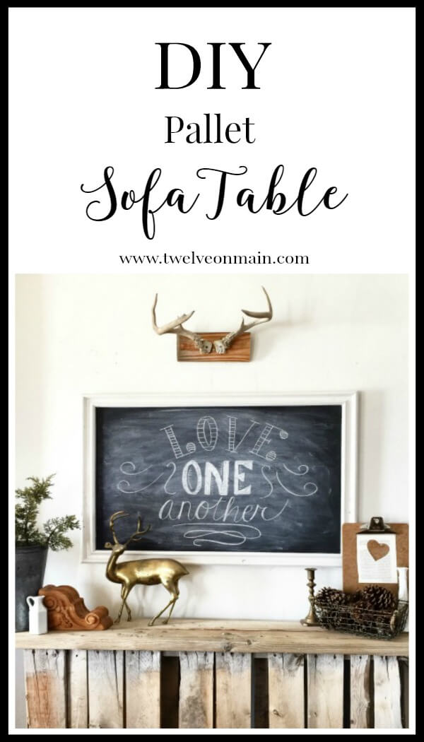 This DIY pallet sofa table is so easy to make. If you wan to add a simple yet amazing piece of furniture, check this out. | Twelveonmain.com