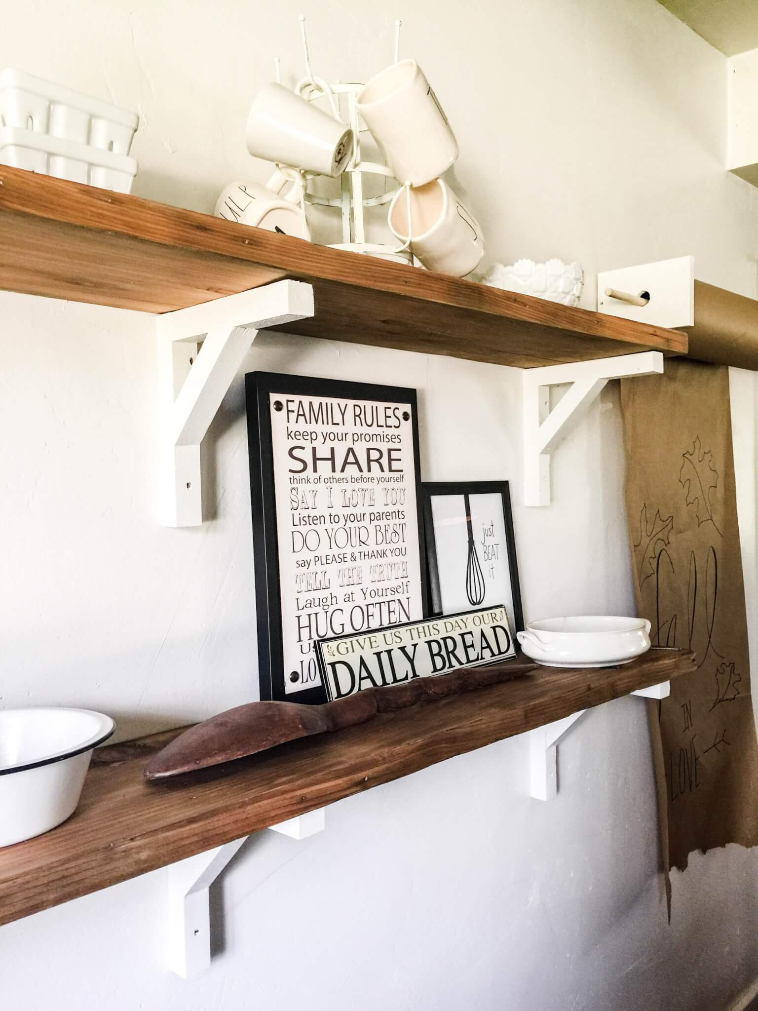 Farmhouse style shelves from reclaimed wood
