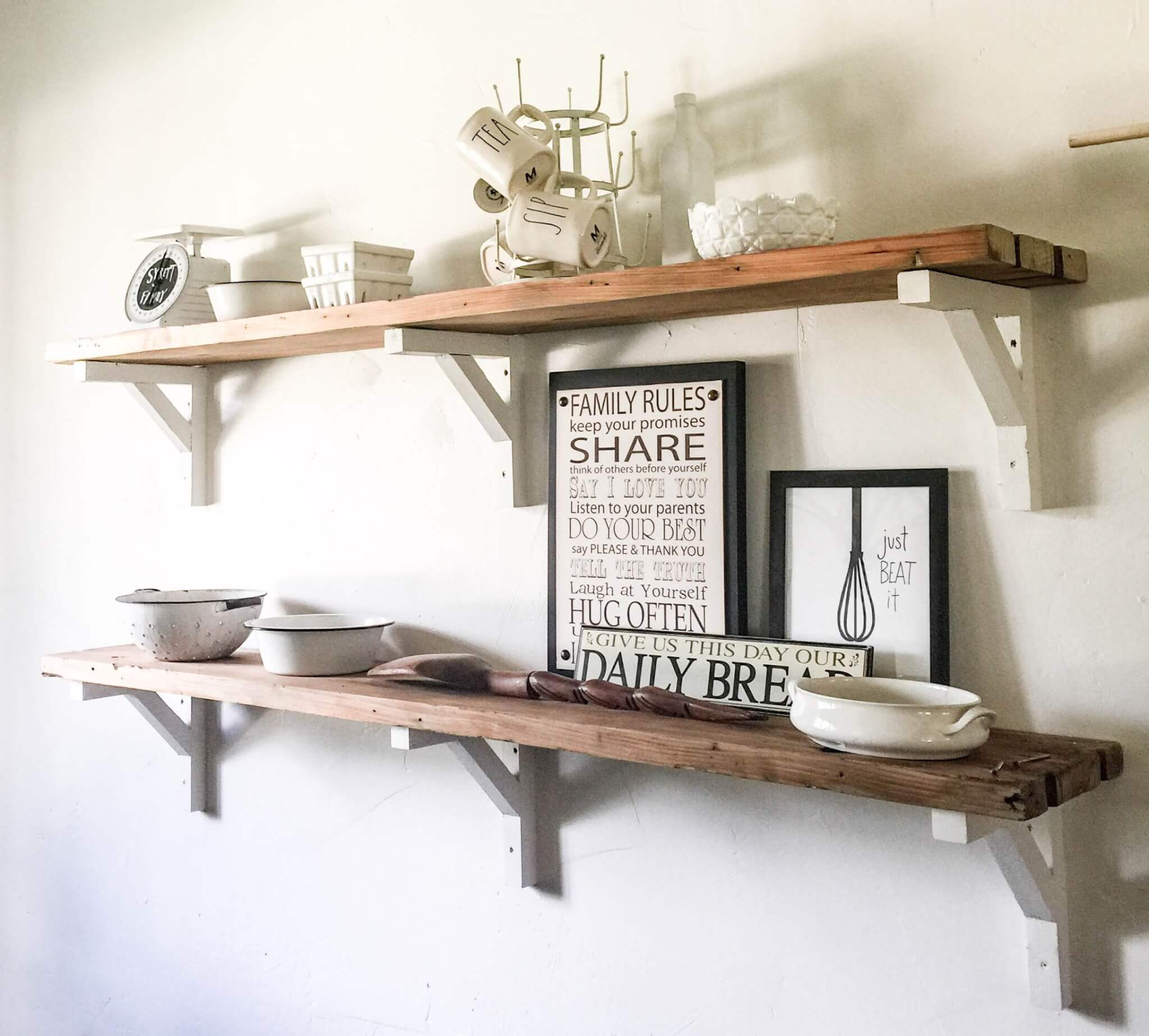 DIY Reclaimed Wood Shelves for the win! Try this easy wood project out!