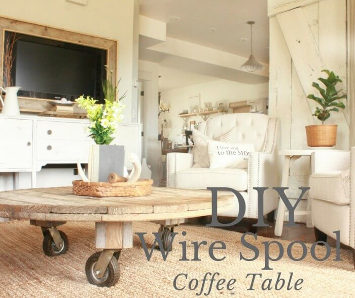 Perfect DIY Wire Spool Coffee Table