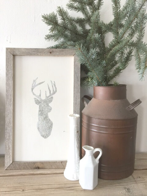 12 Days of Farmhouse Christmas- Day 1 Deer Head Art