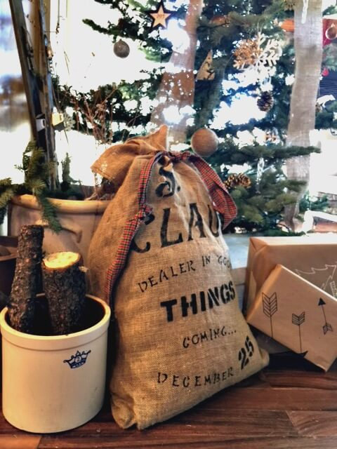 Burlap Santa Claus Bag