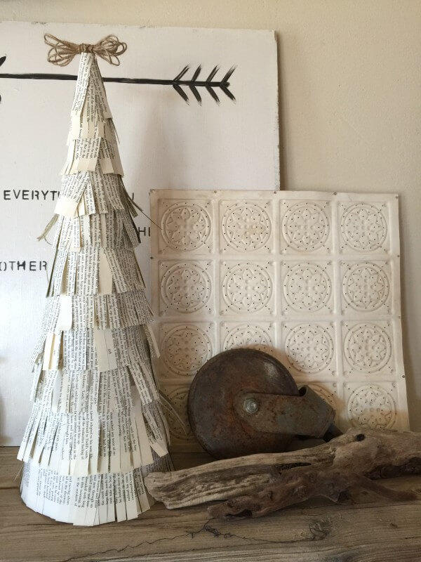 DIY Book Christmas Tree Decor- Day 5 of Farmhouse Christmas