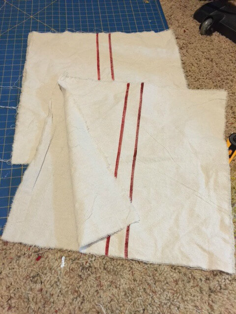 Making A grain sack pillow with my faux Grain sack Fabric
