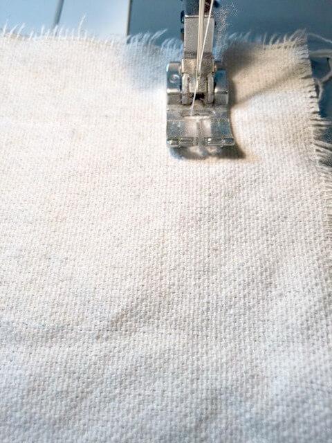 How to make a grain sack pillow with handmade grain sack fabric
