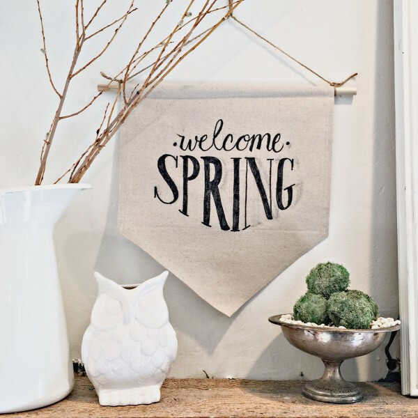 Make this easy dropcloth fabric sign for spring! You will want to make one for every occasion. | Twelveonmain.com