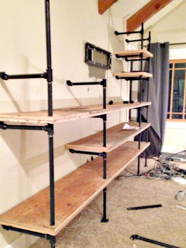 DIY Industrial Pipe Shelves- Do it yourself - DIY Industrial Pipe Shelves - Twelve On Main