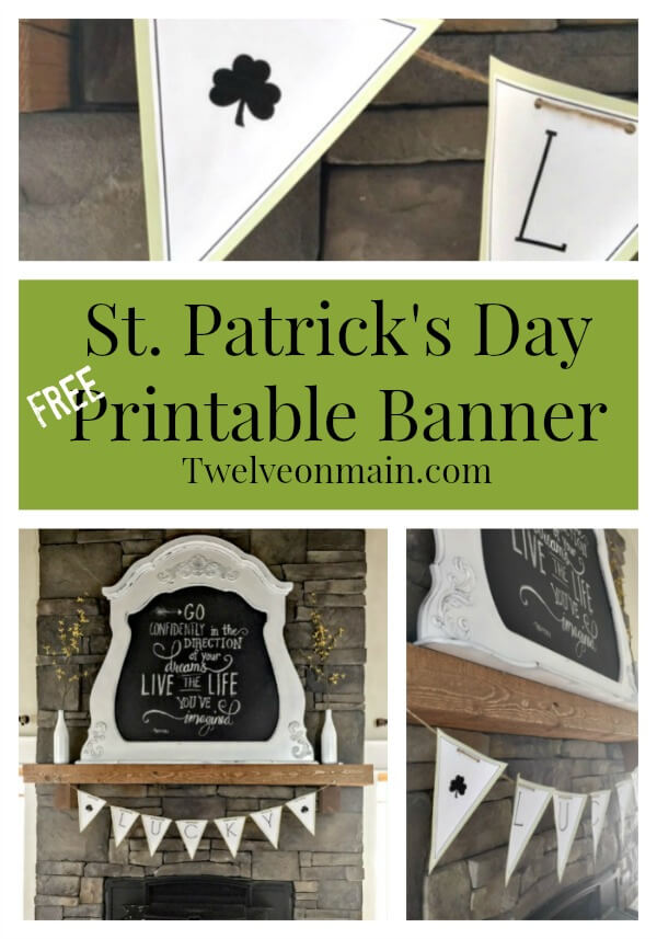 St. Patrick's Day Printable Banner. This is so great! | Twelveonmain.com