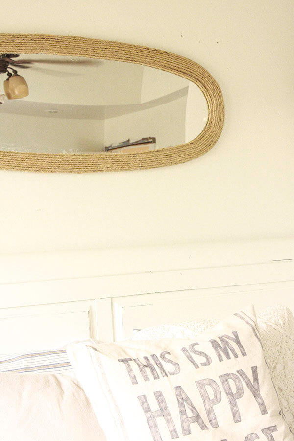 This thrift store mirror makeover is a great update to an otherwise drab and boring mirror. The perfect farmhouse accent. | Twelveonmain.com