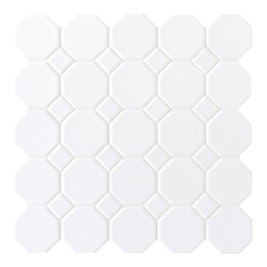 Farmhouse laundry room essentials. This white octagonal tile from Lowes is so amazing.