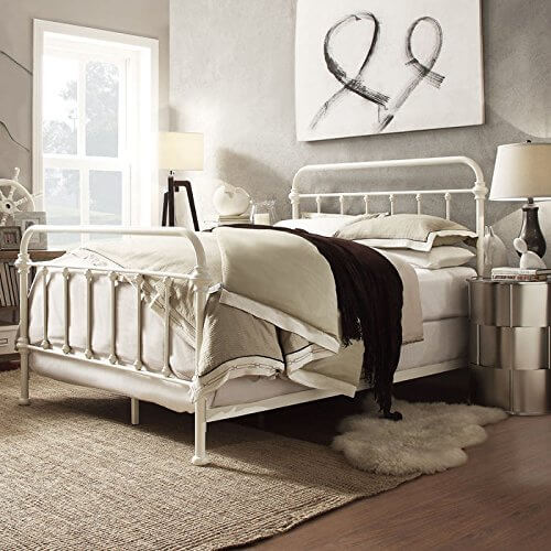 rod wall furniture bed mirror curved also beds mounted with small white stained fancy iron and pin lamp atique color silver table wrought