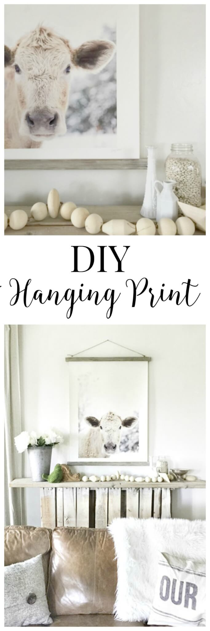 This DIY hanging print with a barnwood finish is so great. This print is so beautiful.