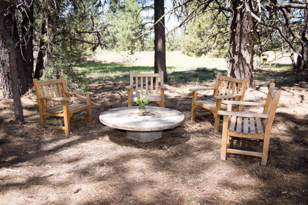 Seating area for an outdoor woodland wedding.
