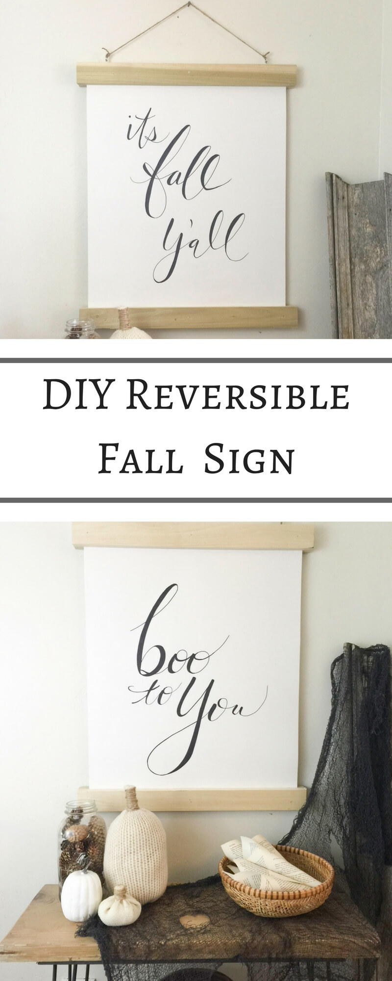 DIY Reversible Fall sign. Go from Fall to Halloween in a snap!