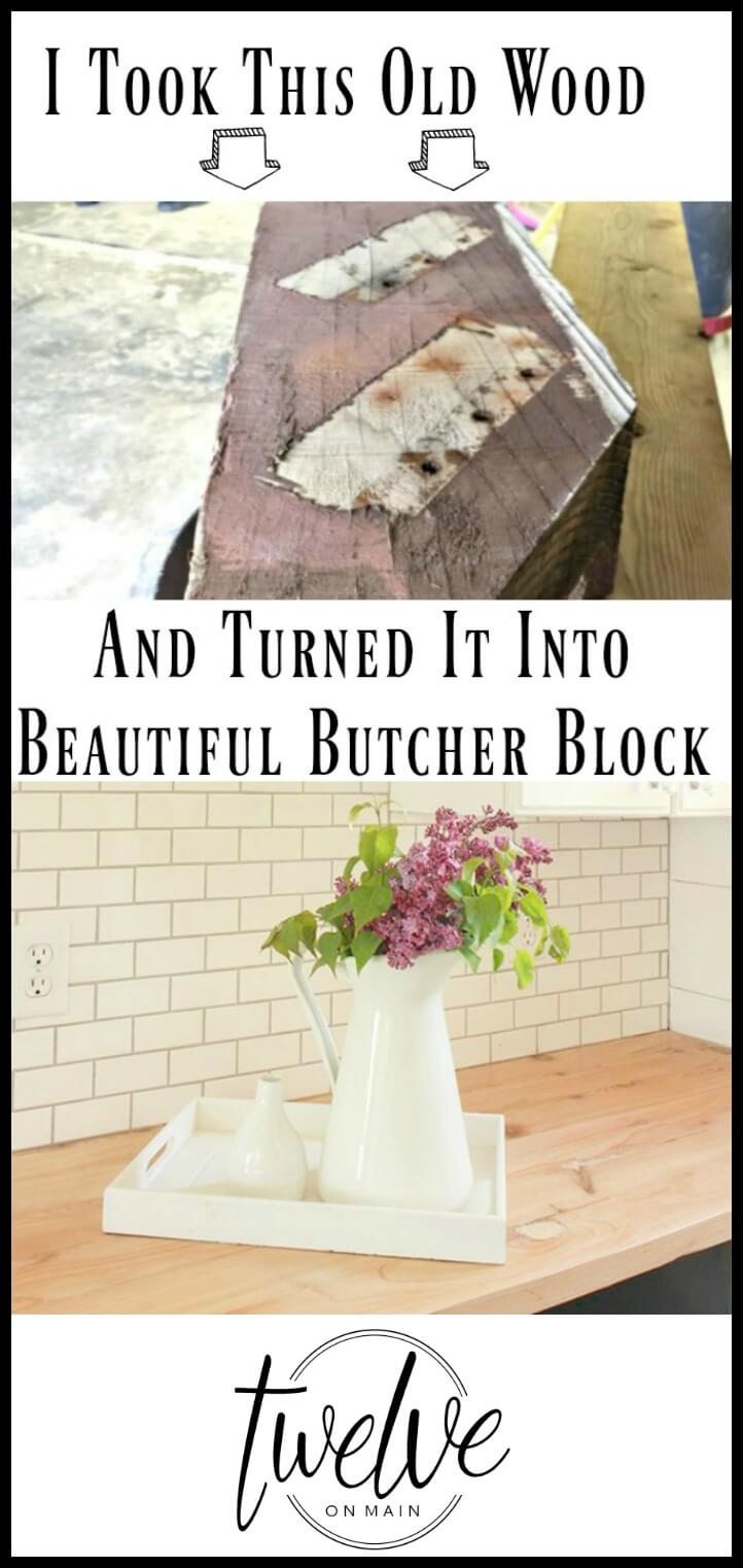 Can you believe that this old wood beam was transformed into the most amazing butcher block counter tops? MUST SEE!