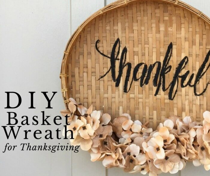 DIY Basket Wreath for Thanksgiving