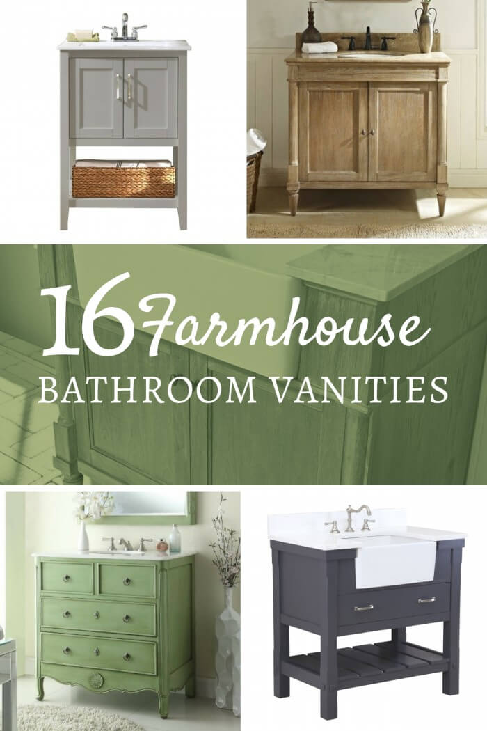 16 farmhouse style single sink vanities - twelve on main