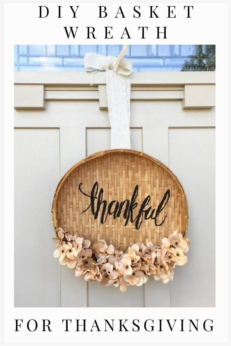 This DIY basket wreath for Thanksgiving is a new take on the fall wreath!  Try it out!  Aren't we all thankful?