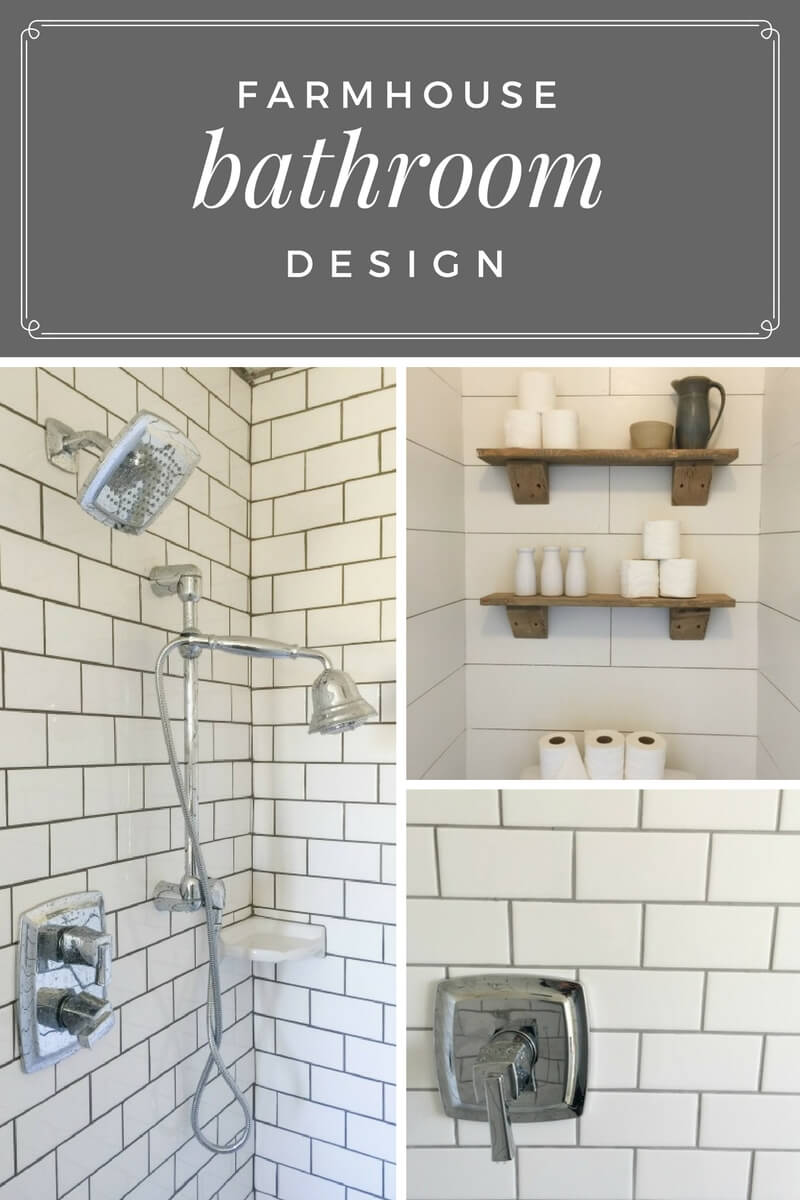 This farmhouse bathroom design is so perfect!