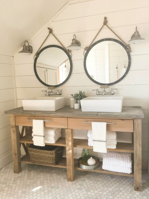 Farmhouse master bathroom final reveal twelve on main for Master bath remodel 2016
