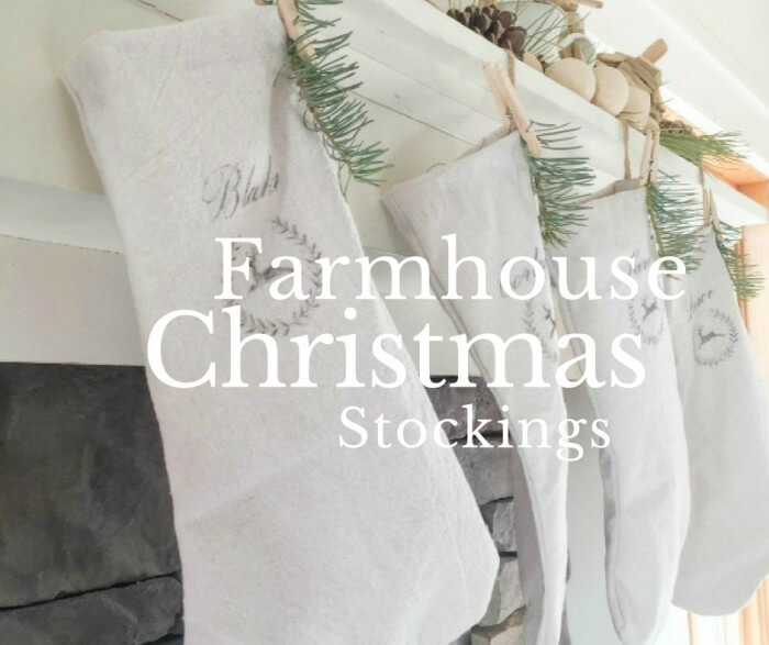 these farmhouse style christmas stockings made from drop cloths are so amazing and so easy
