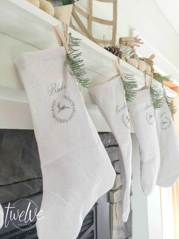 Make simple farmhouse style no sew Christmas stockings using painters canvas drop cloth fabric