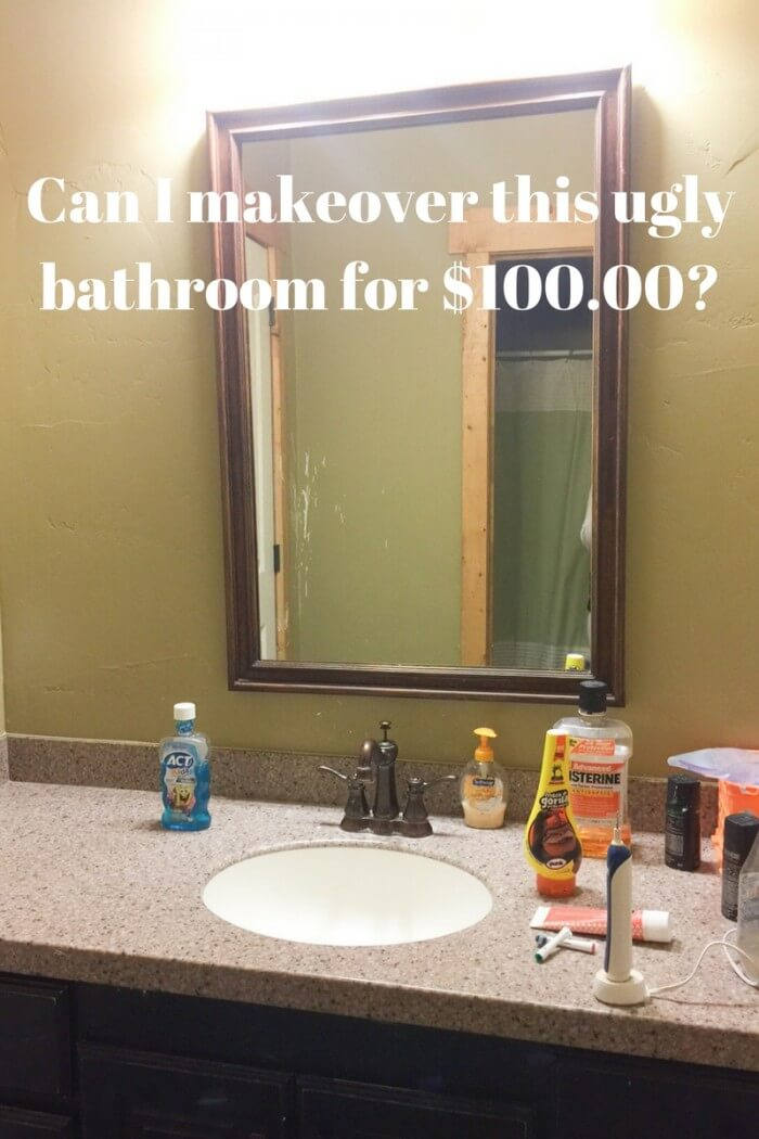 This ugly bathroom is getting an amazing makeover into a boys farmhouse bathroom for under $100 dollars. Can it be done!?!