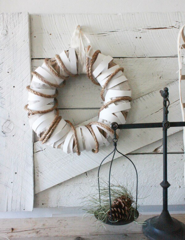 This DIY farmhouse wreath is perfect to add style and texture to your home.