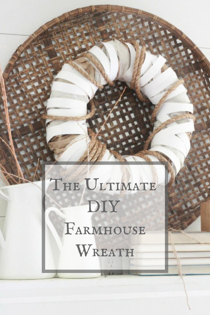 I used items lying around my house to create the ultimate DIY farmhouse wreath. I love all the texture!