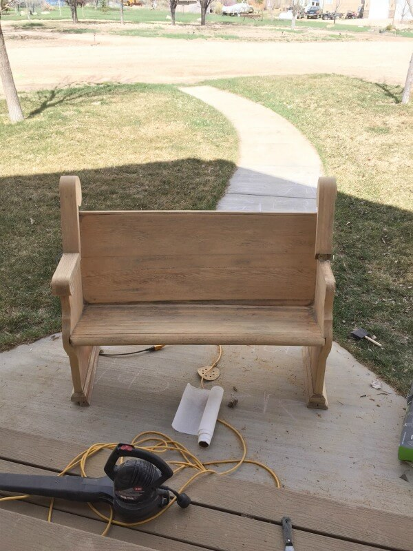 I love how this church pew bench makeover turned out!