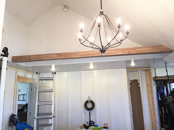 Look at these amazing faux wood beams that we installed in our bedroom!