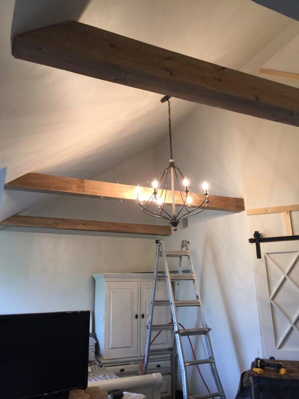 Amazing faux wood beams that were built out of common board! So pretty!