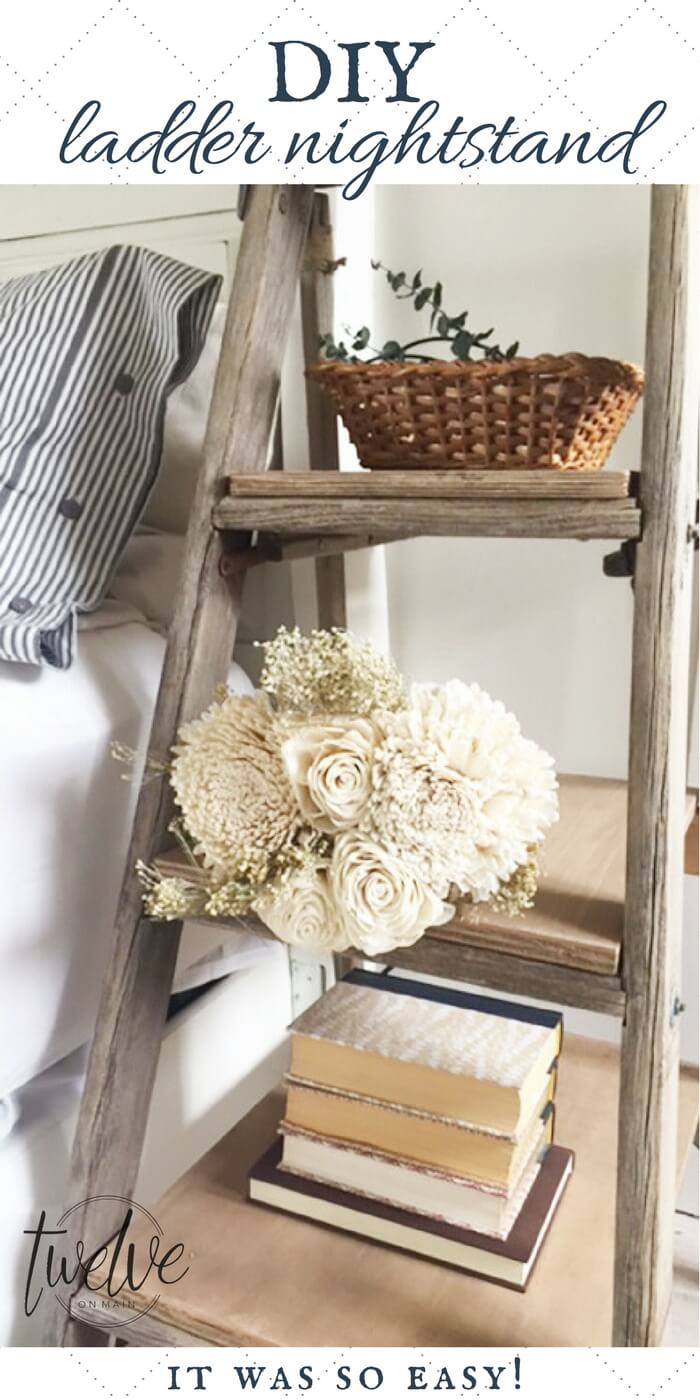 DIY farmhouse nightstand from an old ladder?  This is an awesome projects, with a full tutorial!  This farmhouse style nightstand has rustic appeal and  beautiful raw wood! #nightstand #farmhousedecor