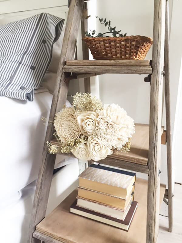 Make a farmhouse nightstand from an old salvaged ladder with these simple steps!