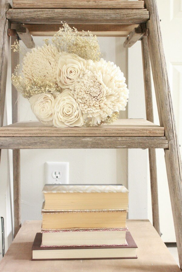 Farmhouse Master Bedroom | ladder night stand | neutral decor | farmhouse decor