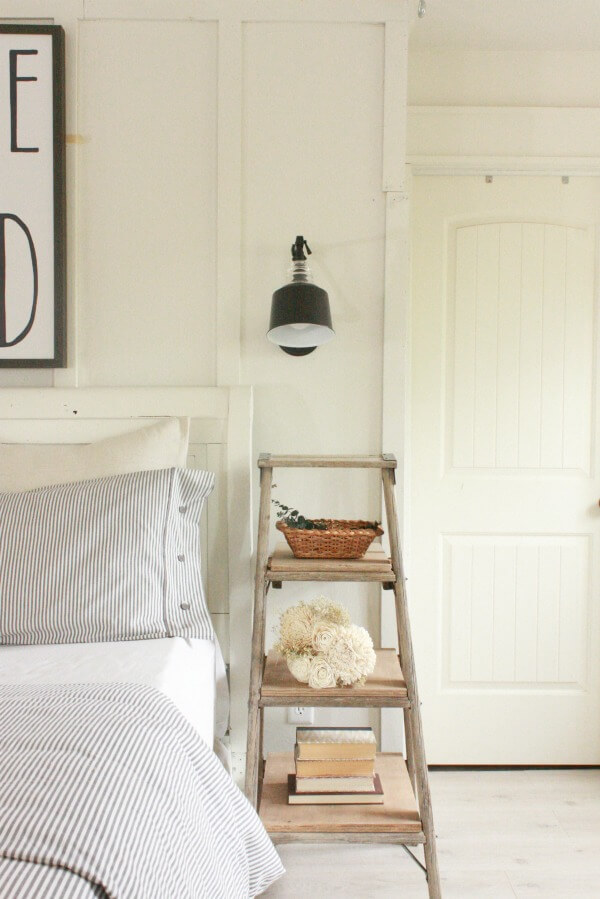 rustic end table with ladder