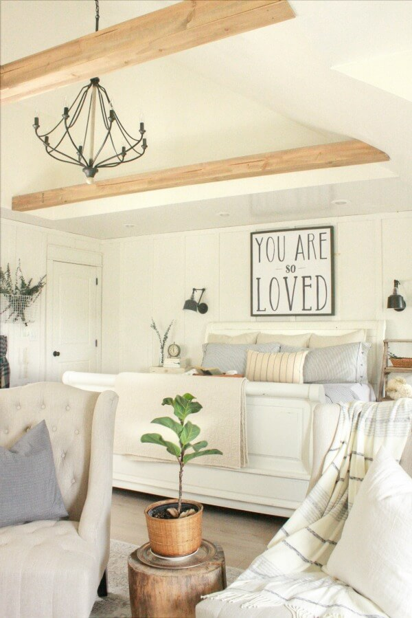 Faux wooden beams in the bedroom?  Gorgeous!