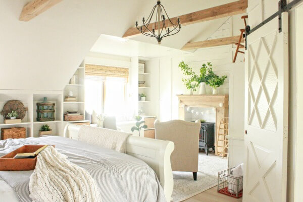 Faux wood beams in a vaulted ceiling