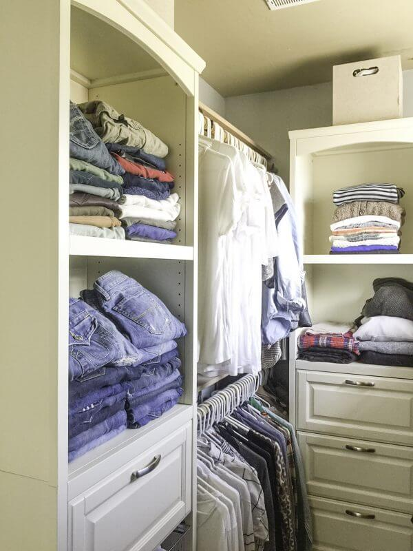 organized farmhouse style closet | closet organization | organized closet | organization tips | closets | farmhouse closet