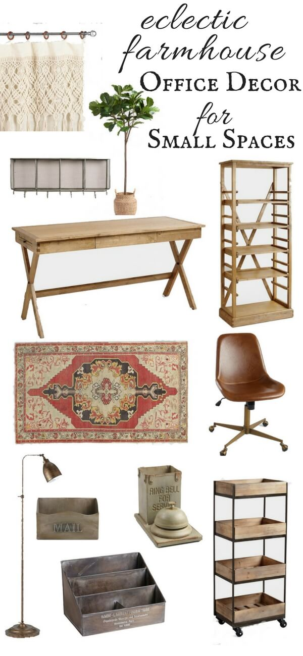 This post is all about eclectic farmhouse office decor. If you are looking to spruce up your small space, or add some style to your home check this out!