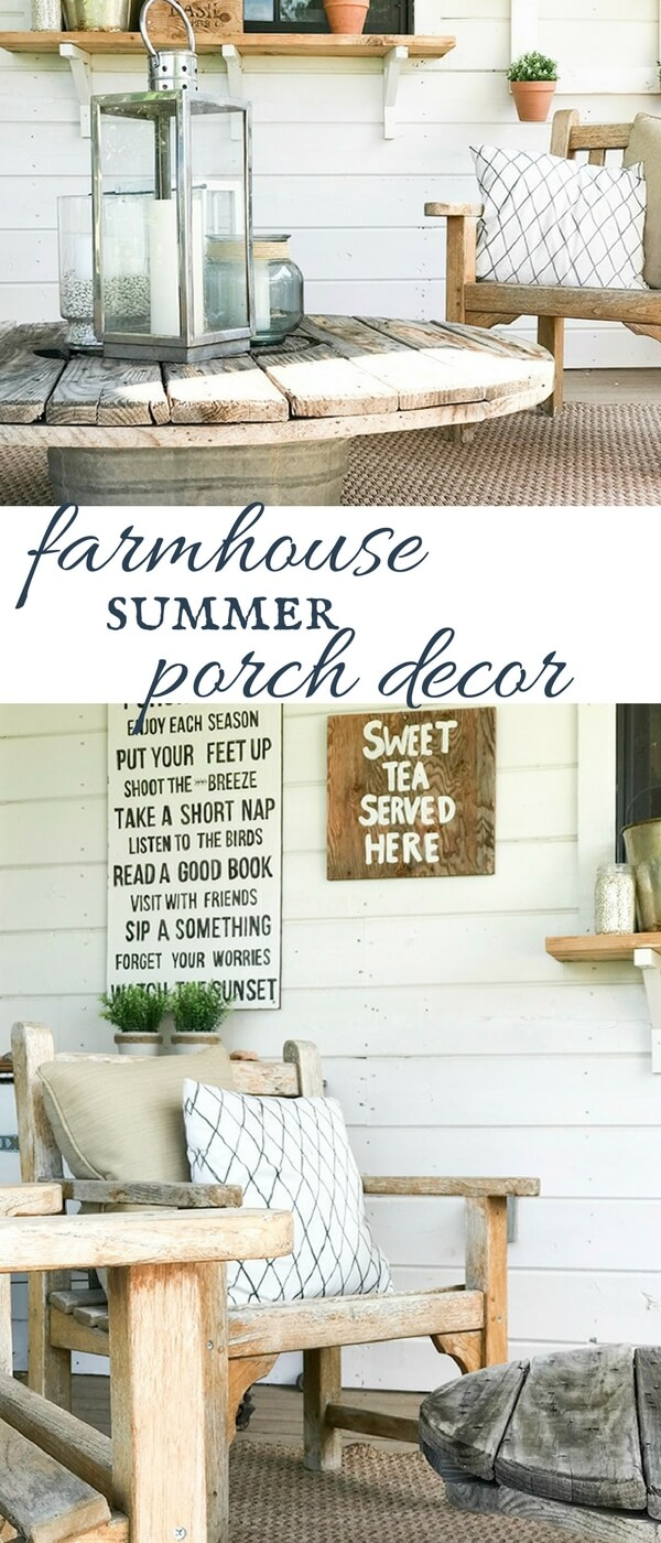 I love this farmhouse summer porch decor by Twelve On Main! Such simple and creative ways to create a lovely outdoor space.