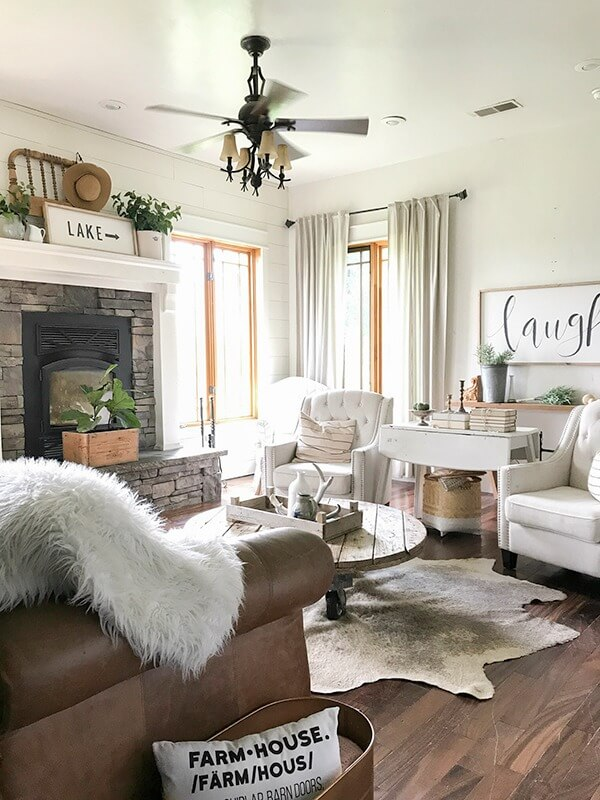 Farmhouse Living Room Summer Decor Complete With Large Farmhouse Signs,  Pottery, Rustic Wood,
