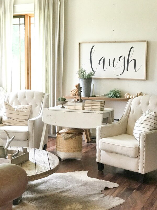Farmhouse Living Room Ideas for the Summer - Twelve On Main on Curtains For Farmhouse Living Room  id=43849