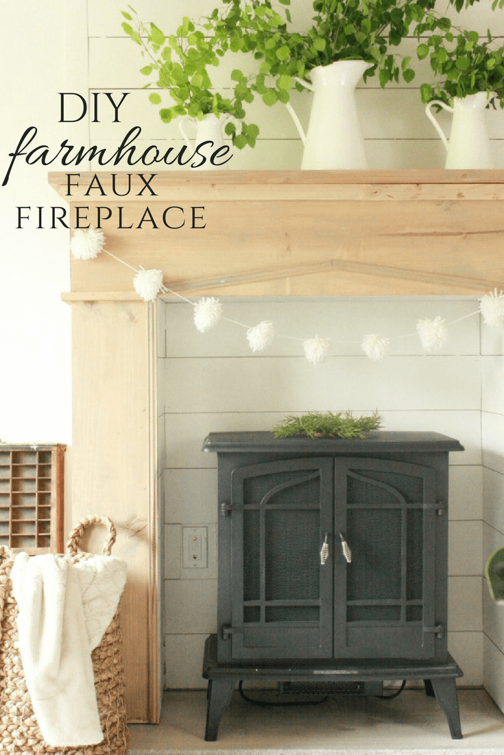Diy faux fireplace and mantel twelve on main add warmth character and style to your home with this easy farmhouse style diy faux solutioingenieria Images