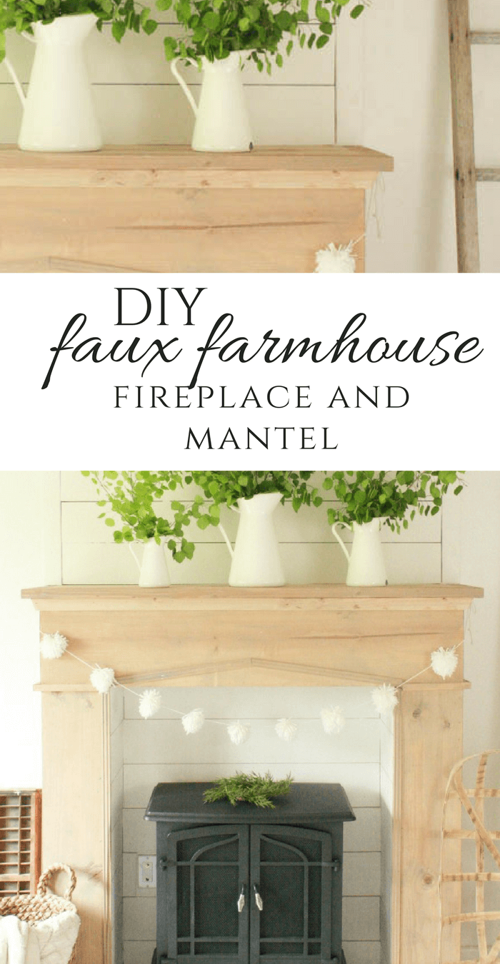 Add warmth, character and style to your home with this easy farmhouse style DIY fireplace and mantel.  Raw wood, shiplap, and a freestanding fireplace!